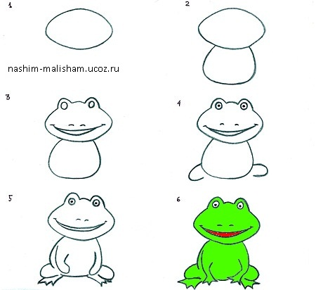 Поэтапное рисование лягушек карандашами для ребенка.
